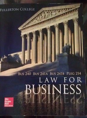 9780077848552: Law for Business (Fullerton College)