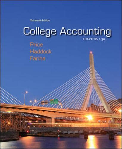 9780078025273: College Accounting, Chapters 1-30, 13th Edition