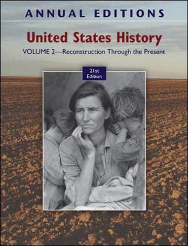 9780078050749: Annual Editions: United States History, Volume 2: Reconstruction Through the Present