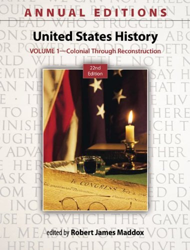9780078051142: Annual Editions: United States History, Volume 1: Colonial through Reconstruction
