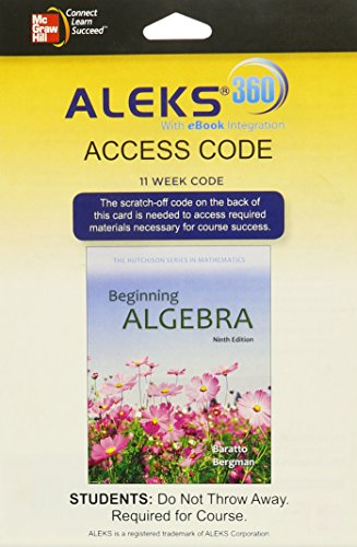 9780078097089: ALEKS 360 Access Card (11 weeks) for Beginning Algebra