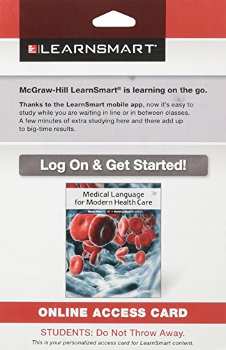 9780078117619: LearnSmart Standalone Access Card for Allan Medical Language for Modern Health Care 3e