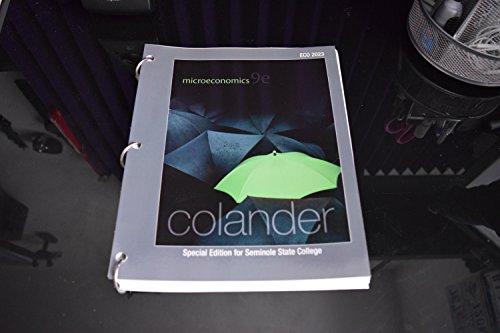 9780078129643: Microeconomics Colander 9/e : Special Edition for Seminole State College