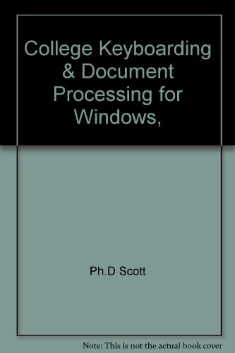 9780078205217: College Keyboarding & Document Processing for Windows, Soloution Keys for Microsoft Word 2000