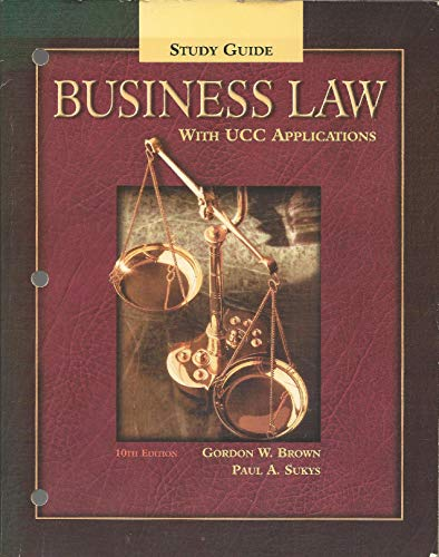 9780078210389: Study Guide for Business Law With Ucc Applications