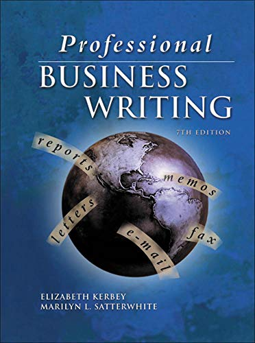 9780078211652: Professional Business Writing, Student Text-Workbook with CD-Rom