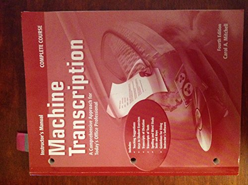 9780078228339: (Instructor's Manual) Machine Transcription -- A Comprehensive Approach for Today's Office Professional, with CD --- 4th edition