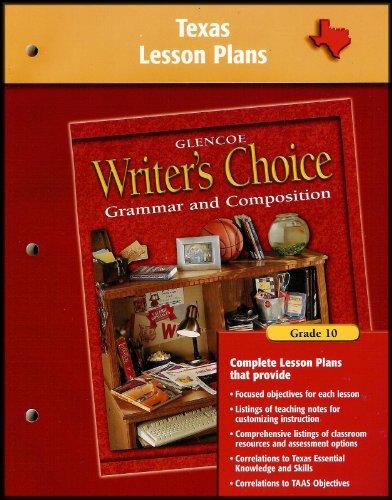 9780078234866: Writer's Choice Texas Lesson Plans Grade 10