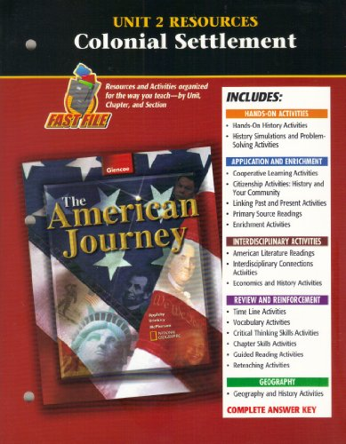 9780078252044: American Journey Unit 2 Resources: Colonial Settlement