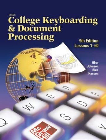 9780078257599: GreggCollegeKeyboardingand Document Processing: Word 2000, Kit 1, Lessons 1-60