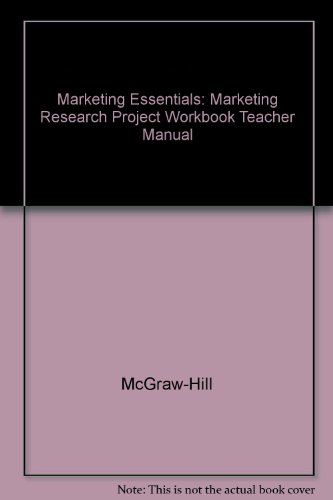 9780078259760: Marketing Research Project Workbook Teacher Manual Glencoe Marketing Essentials 3rd Edition 2002