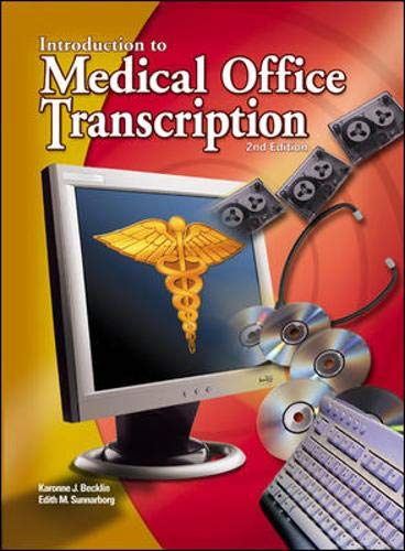 9780078262609: Medical Office Transcription: An Introduction to Medical Transcription Text-Workbook