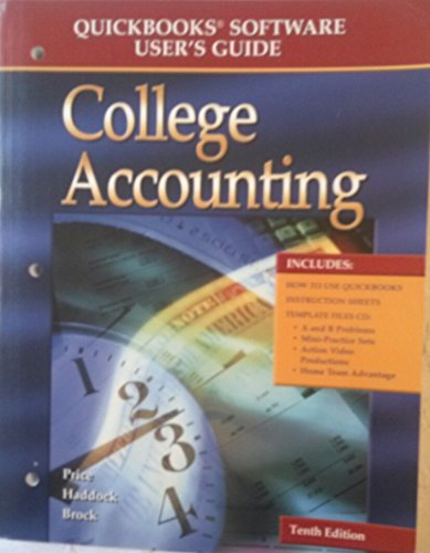 9780078271052: Quickbooks Software User's Guide: College Accounting (Book & CD)