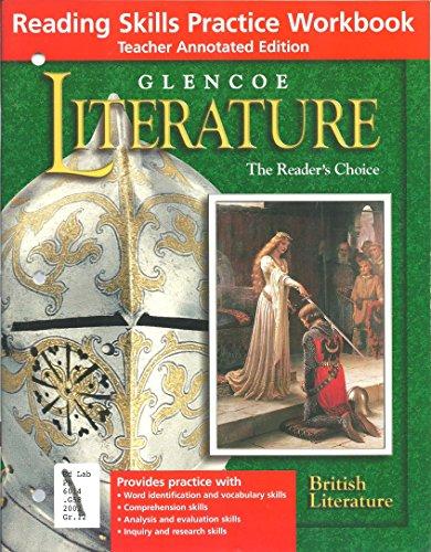 9780078271892: Glencoe Literature Grade 12, British Literature, Reading Skills Practice Workbook, Teacher'S