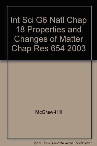 9780078286629: Glencoe Science Chapter Resources Properties and Changes of Matter Chapter 18