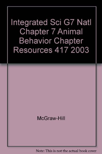 Science Level Green Chapter Resource 7 Animal Behavior With Answer Keys (2003 Copyright): Staff