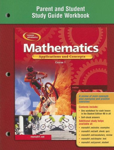 9780078600883: Mathematics: Applications and Concepts, Course 1, Parent and Student Study Guide Workbook (Glencoe Mathematics)
