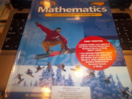 9780078601057: Mathematics Applications and Concepts (North Carolina Edition Glencoe Mathematics, Course 2/ Grade 7) (Hardcover)