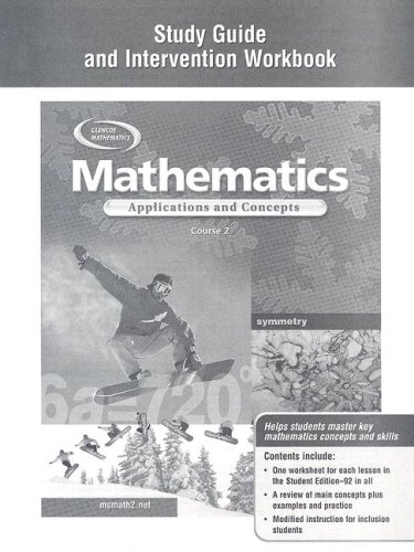 9780078601286: Mathematics: Applications and Concepts, Course 2, Study Guide and Intervention Workbook