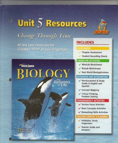 Biology: The Dynamics of Life Unit 5: Glencoe/McGraw-Hill