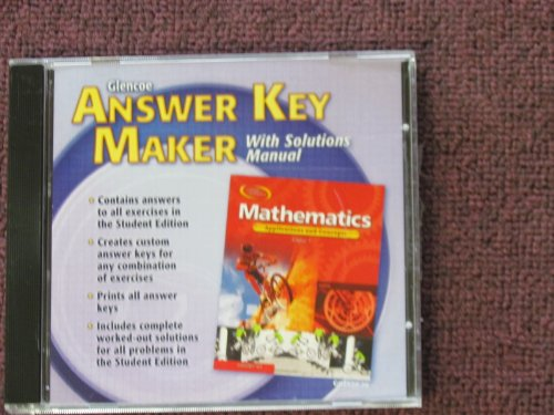 9780078602924: Mathematics: Applications and Concepts, Course 1, Answer Key Maker CD-Rom