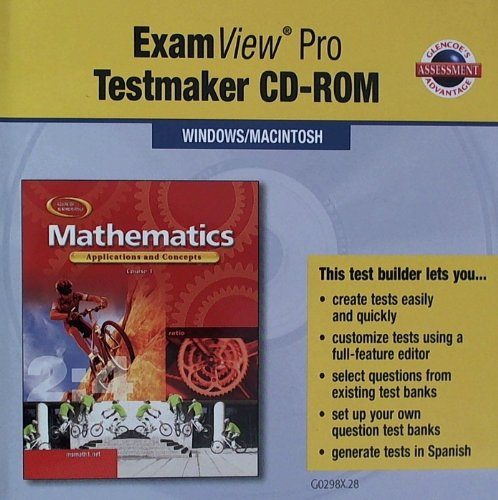 9780078602986: Mathematics Applications and Concepts Course 1 Testmaker CD ROM (ExamView Pro Testmaker CD Rom)