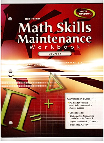 9780078607226: Math Skills Maintenance Workbook: Course 1, Teacher Edition.