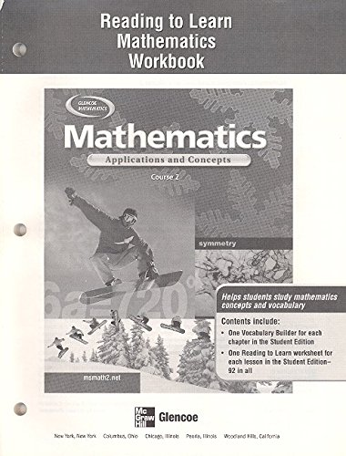 9780078610585: Mathematics: Applications and Concepts, Course 2, Reading to Learn Mathematics Workbook