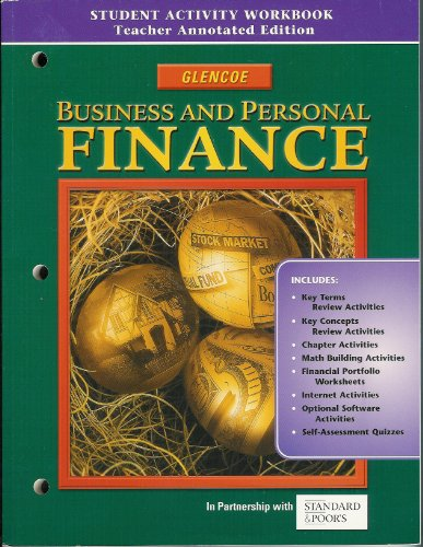 9780078616358: Business and Personal Finance - Student Activity Workbook - Teacher's Annotated Edition
