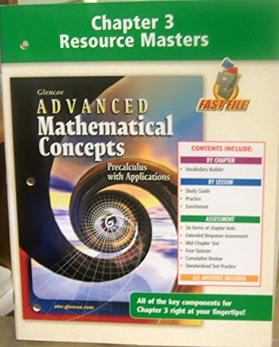 9780078691300: Chapter 3 Resource Masters to accompany Glencoe Advanced Mathematical Concepts: Precalculus with Applications (Chapter 3)