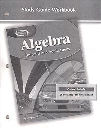 9780078696107: Algebra: Concepts and Applications, Study Guide Workbook (ALGEBRA: CONC. & APPLIC.)