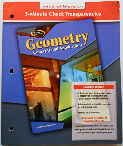 9780078696190: 5-Minute Check Transparencies, Assessment/Intervention (Glencoe Mathematics, Geometry, Concepts and Applications)