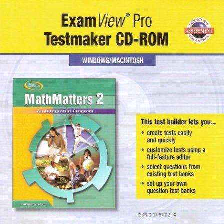 9780078701214: Glencoe Mathematics - MathMatters 2: An Integrated Program - ExamView Pro Testmaker CD-ROM