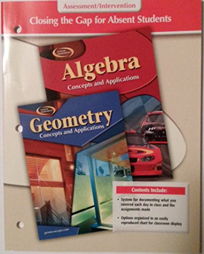 9780078729768: Glencoe Mathematics, Closing the Gap for Absent Students, Assessment/intervention, Algebra and Geometry