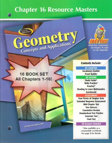 9780078735523: Glencoe Mathematics - Geometry: Concepts and Applications - Chapter Resource Package - 16 Book Set - All Fast File Chapter Resource Masters 1-16