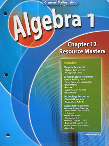 Algebra 1, Chapter 1 Resource Masters (Glencoe
