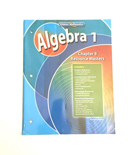 9780078739514: Algebra 1, Chapter 8 Resource Masters (Glencoe Mathematics)