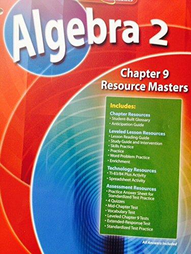 9780078739798: Algebra 2 Chapter 9 Resource Masters (Glencoe Mathematics)