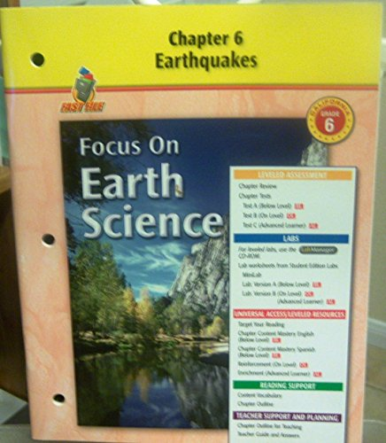9780078754357: Chapter 6, Earthquakes, California, Grade 6 (Focus on Earth Science)