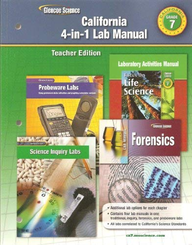 9780078754913: Glencoe Science California 4-in-1 Lab Manual Teacher Edition (GR 7)