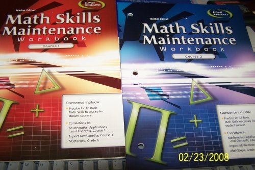 9780078760921: Glencoe Mathematics Teacher Edition Math Skills Maintenance Workbook Course 2