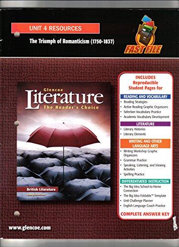 9780078762109: Glencoe Literature The Reader's Choice, British Literature: Unit 4 Resouces (The Triumph of Romanticism, 1750-1837)