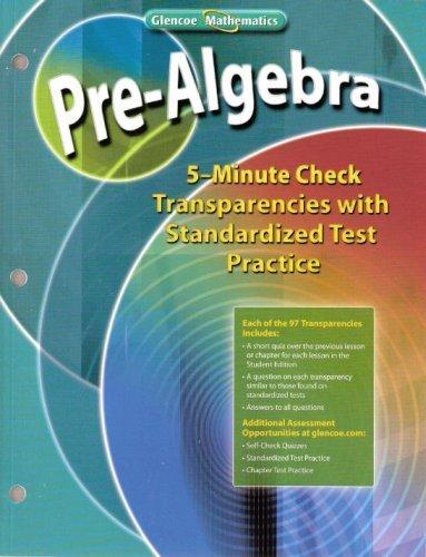 9780078772092: Glencoe Mathematics - Pre-Algebra - 5-Minute Check Transparencies with Standardized Test Practice