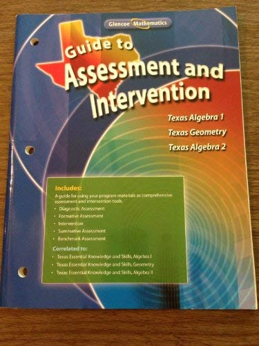 9780078773228: Guide to Assessment and Intervention for Texas Algebra 1, Geometry and Texas Algebra 2
