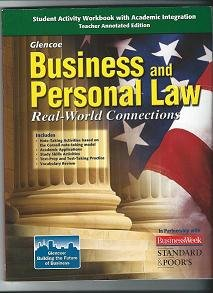 9780078779459: Glencoe Business and Personal Law: Real-World Connections, Teacher Annotated Edition for Student Activity Workbook