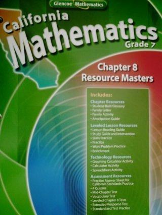 9780078783159: California Mathematics Grade 7 Chapter 8 Resource Masters (California Mathematics Grade 7)