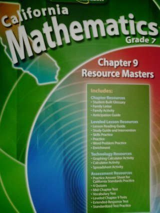 9780078783166: California Mathematics Grade 7 Chapter 9 Resource Masters (California Mathematics Grade 7)
