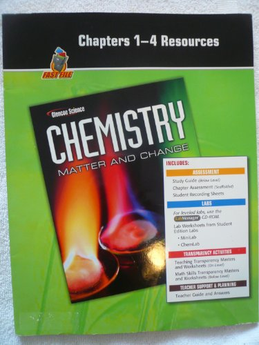 Chapters 1-4 Resources, Fast File, Glencoe Science Chemistry, Matter and Chance