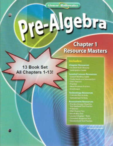 9780078791895: Glencoe Mathematics - Pre-Algebra - Chapter Resource Masters Package - Chapters 1-13