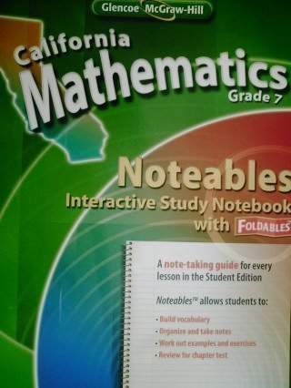 9780078792670: California Mathematics Grade 7 Noteables Interactive Study Notebook with Foldables